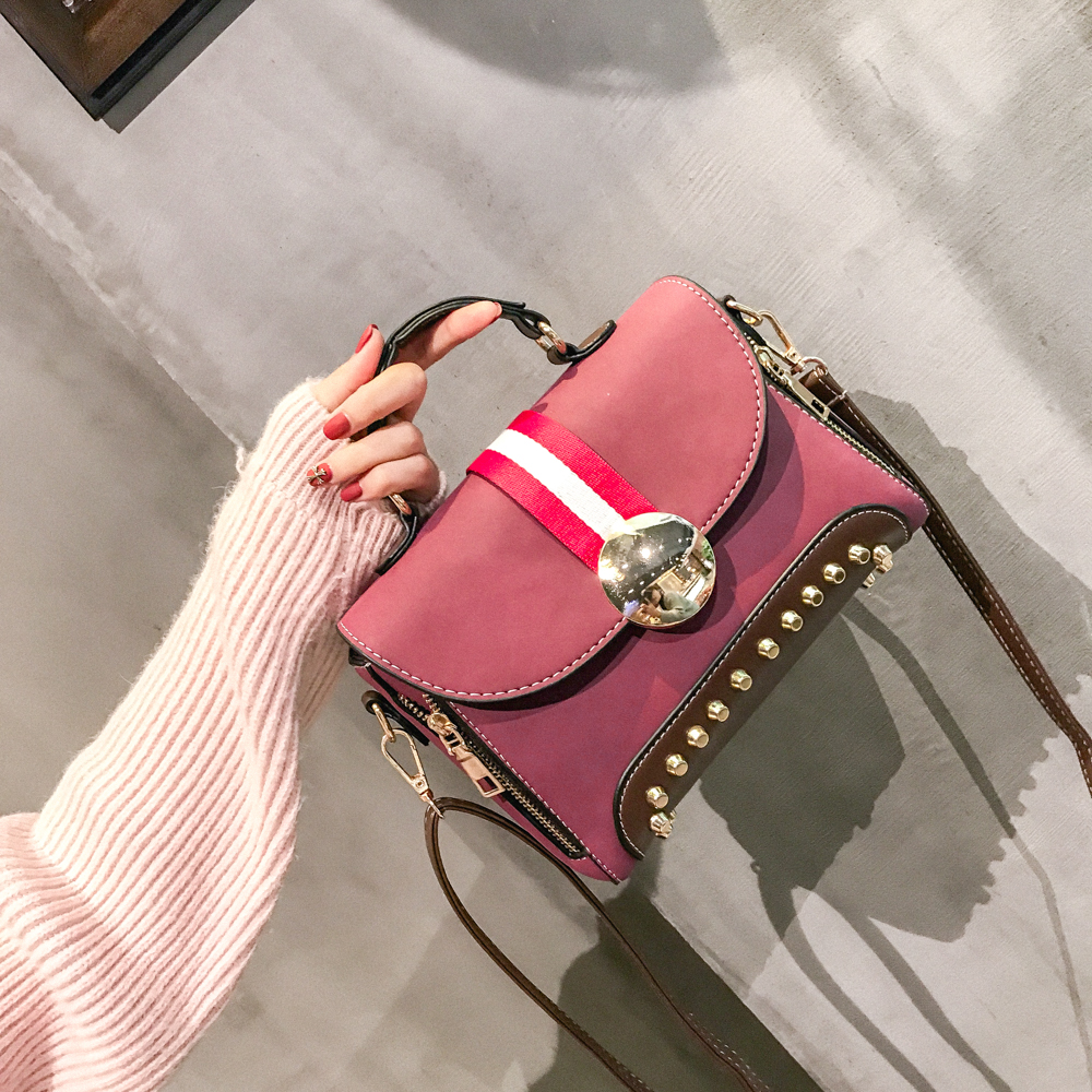 Female New Rivet Frosted Cross-body Shoulder Messenger Bag