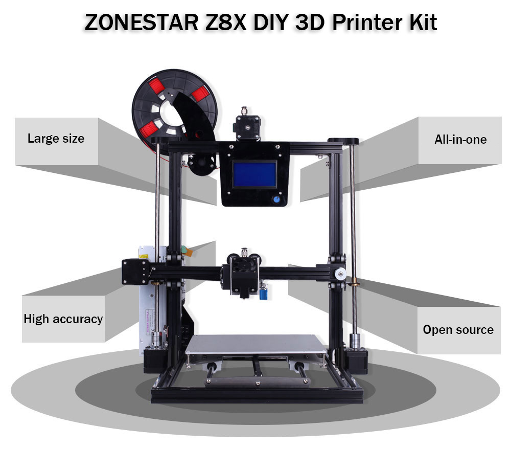 ZONESTAR Z8X Aluminum Alloy Frame Multi-material Printing DIY 3D Printer Kit