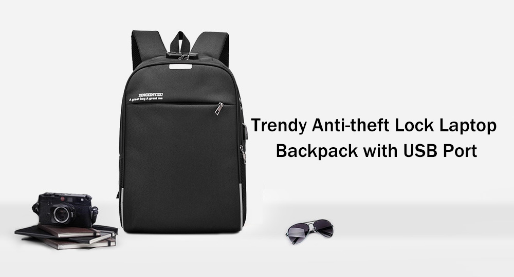 Minimalist Anti-theft Lock Laptop Backpack with USB Port for Men