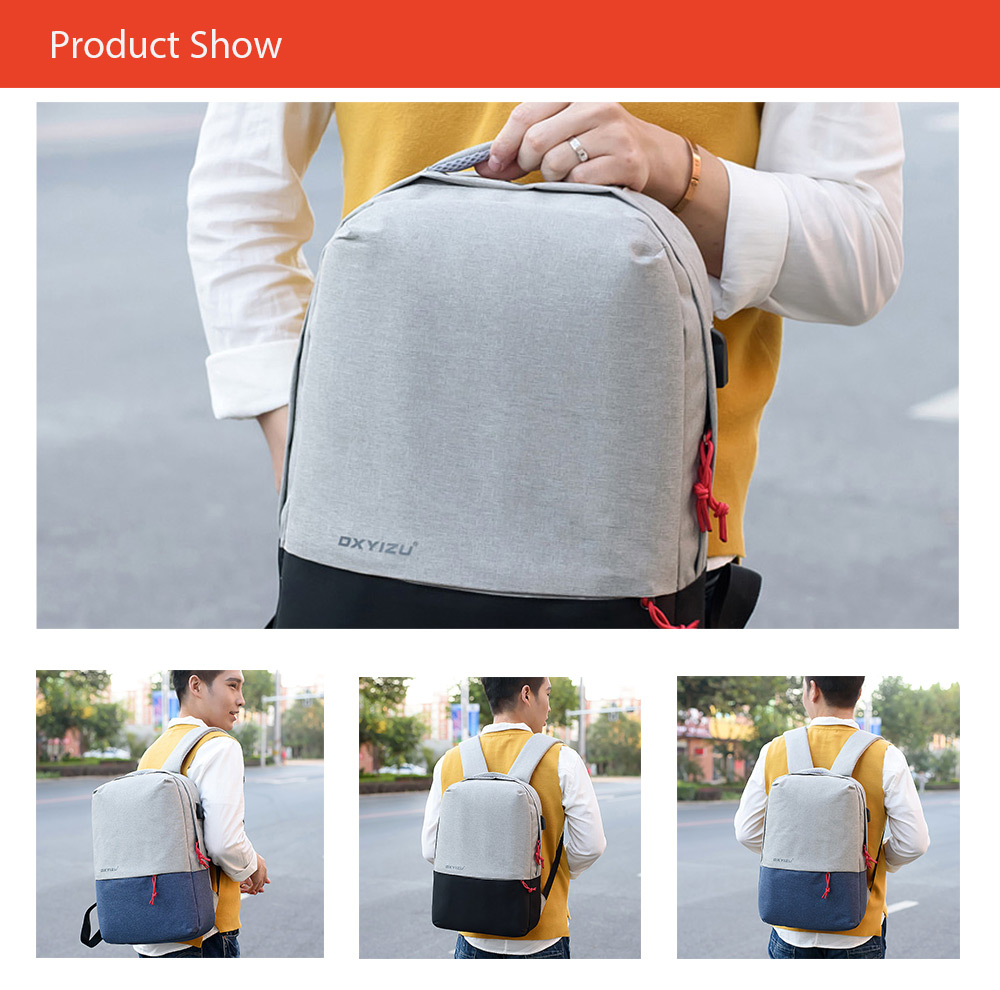 Minimalist Canvas Laptop Backpack with USB Port for Men