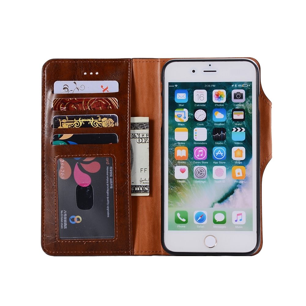 Premium PU Leather Wallet Case Cover 2 in 1 Removable Shell Magnetic Flip Cover for iPhone 7 Plus / 8 Plus