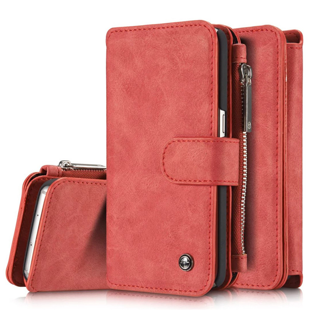 Multi-functional Leather Separable Zipper Purse Holster for Samsung Galaxy S7