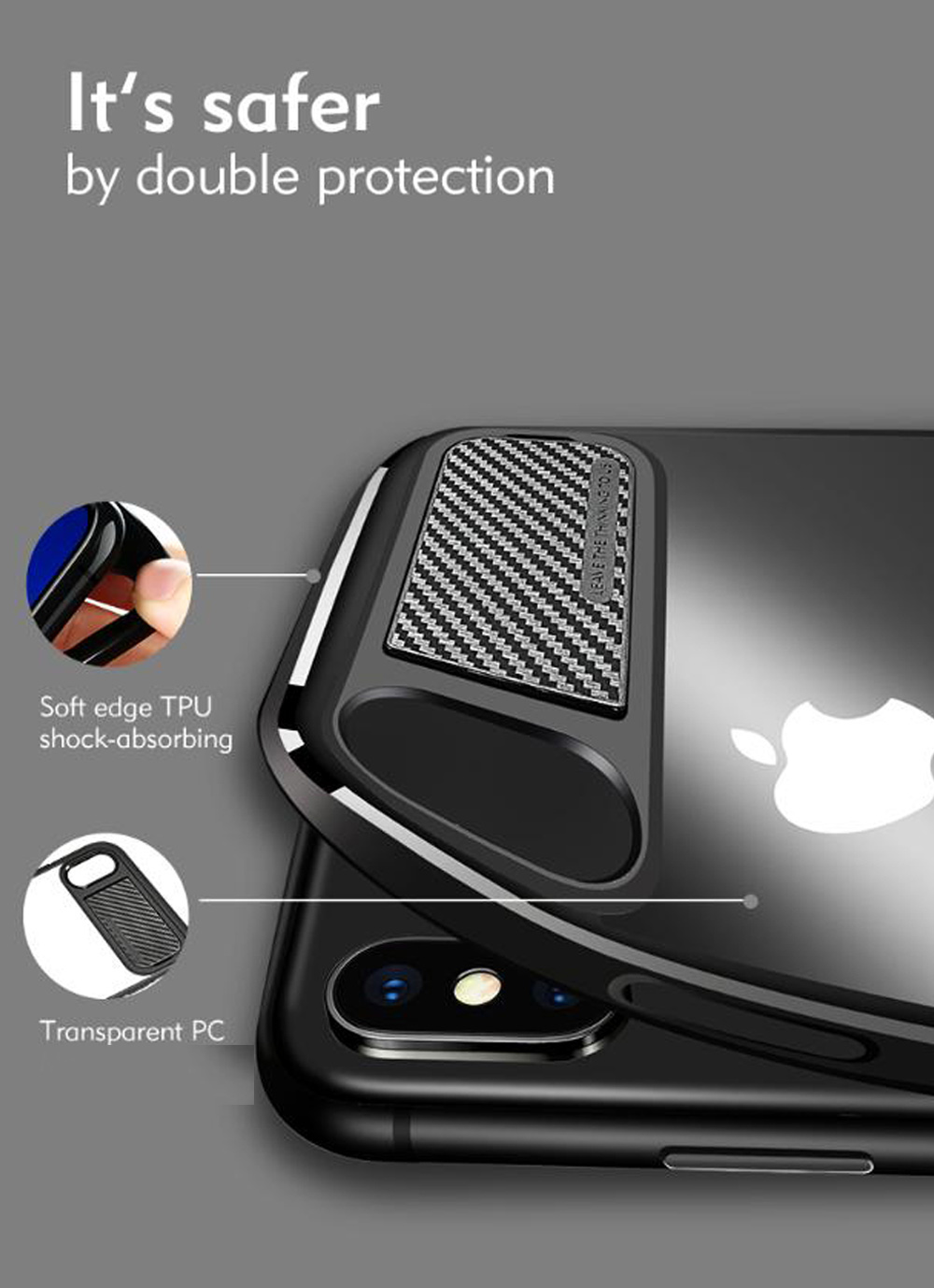 Benks Murti Series Luxury Hybrid PC + TPU Back Mirror Cover Case with Kickstand for iPhone X