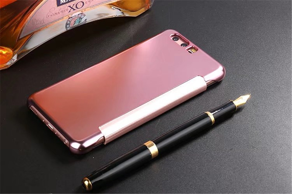 Luxury Mirror PU Leather Smart Flip Hard Protective Back Cover Case for HUAWEI P10
