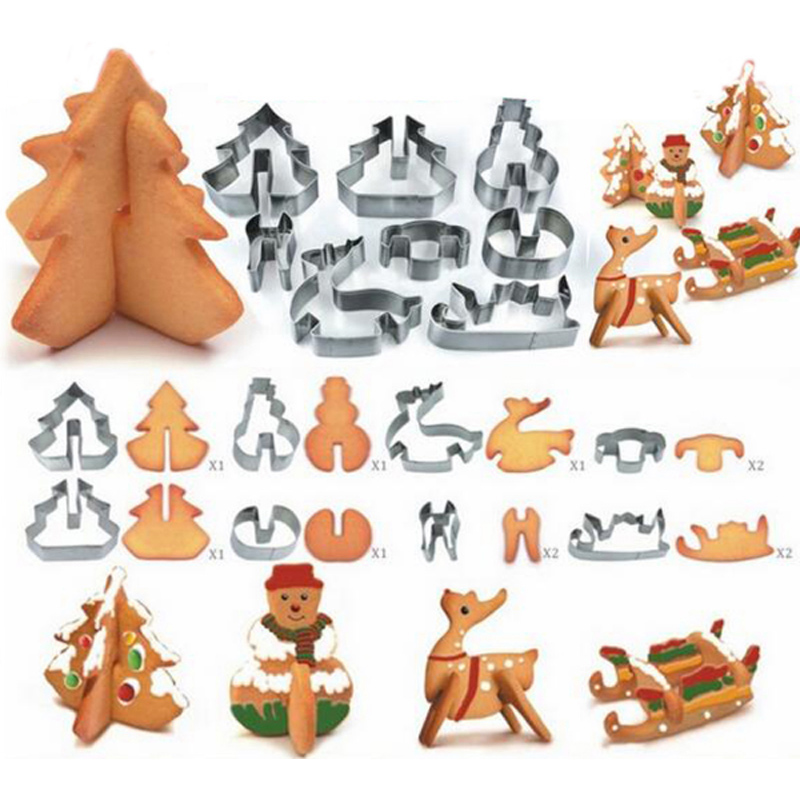 Hoard 8PCS 3D Christmas Scenario Cookie Cutter Mold Set Stainless Steel Fondant Cake Mould- Silver