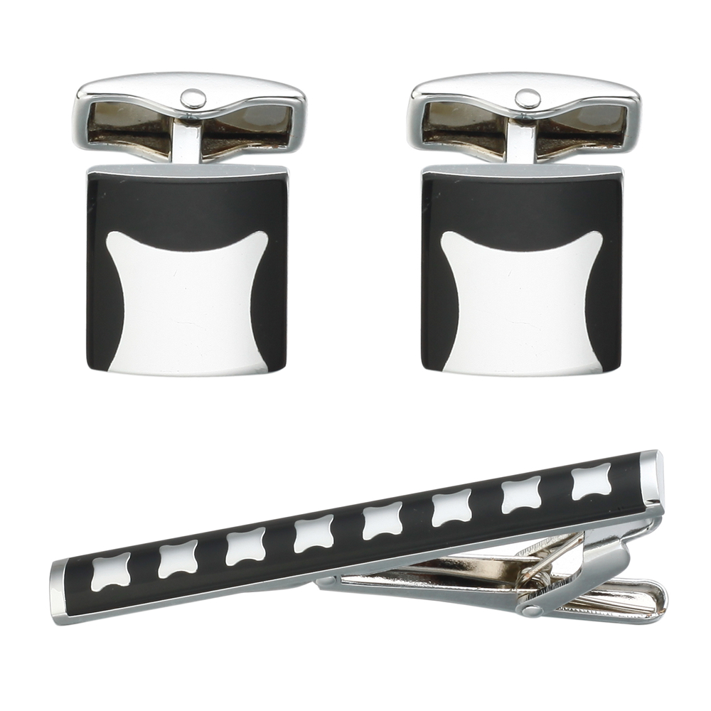 Men Cross grace Shirt Sleeve Nail Striped Cufflinks Tie Clip Set