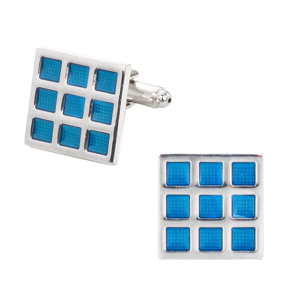 Hot Sale Fashion Cufflinks Wedding Cube Lattice Pattern Cuffs