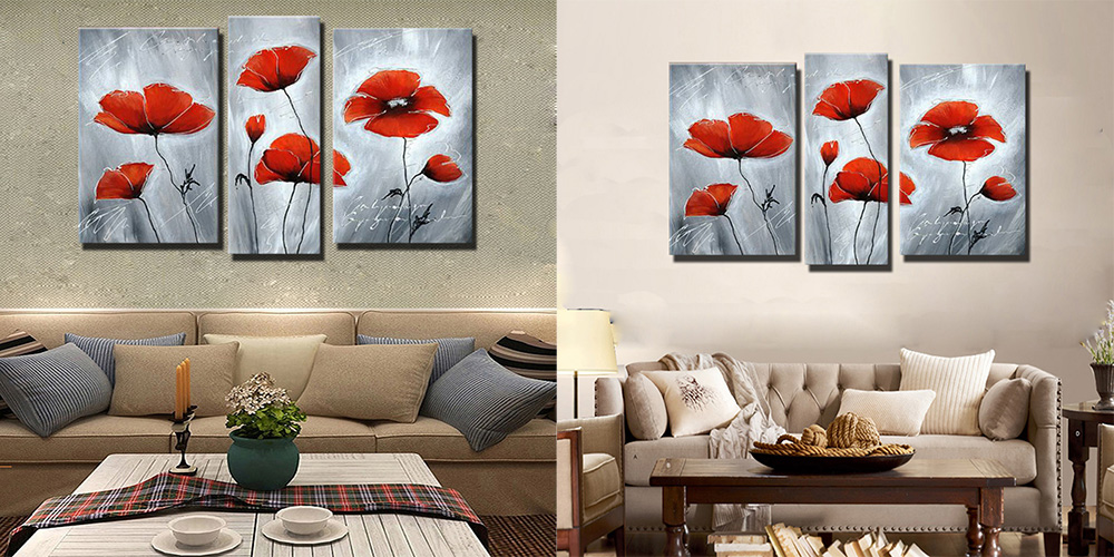 Colourful Hand-painted Red Flowers Pattern Oil Painting Canvas Wall Decor 3PCS- Colormix