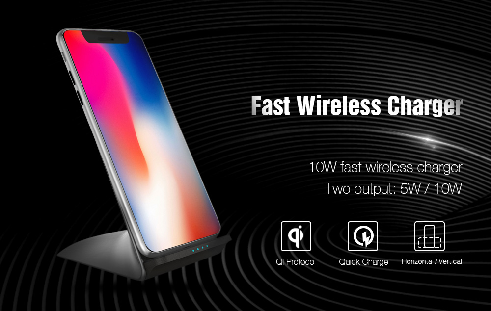 TOCHIC 10W Fast Wireless Charger for iPhone X / 8 / 8 Plus / Samsung / LG / Xiaomi