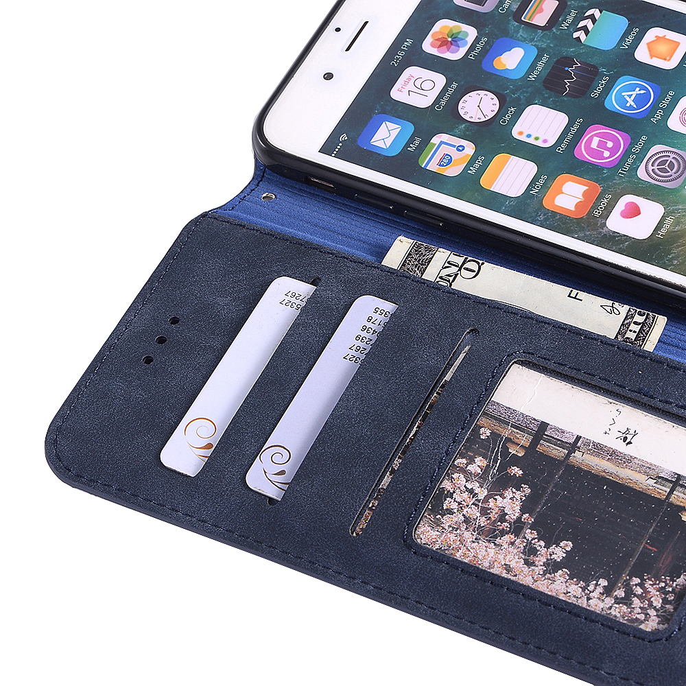Genuine Leather Protective Folio Case Flip Cover with Stand for iPhone 7 Plus / 8 Plus