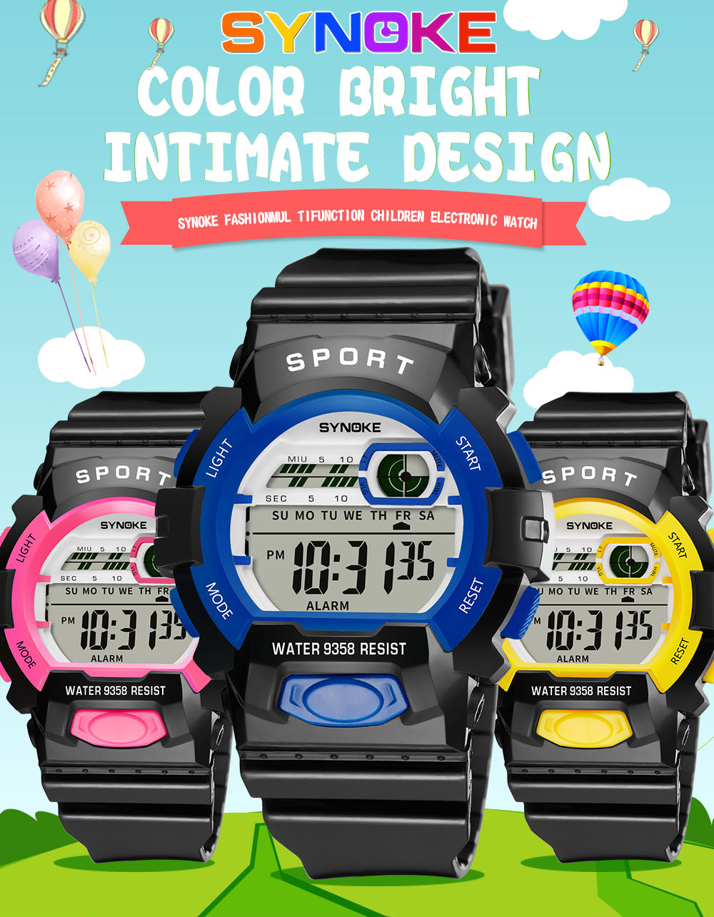 SYNOKE 9358 Waterproof Multi-function New Student Sports Electronic Watch