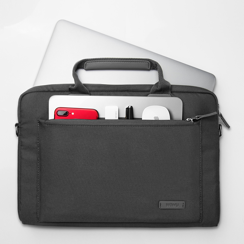 WIWU Athena Nylon Sleeve Carrying Case Shoulder Bag for Macbook Notebook 13.3 inch- Gray