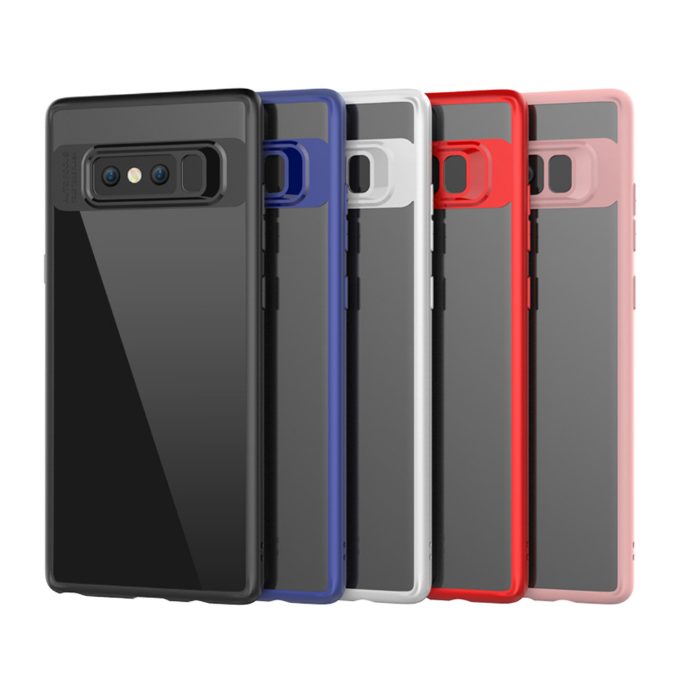 HD Clear Acrylic PC Back Soft TPU Edge 2 in 1 Full Protective Shell Retail for Samsung Galaxy Note 8 Case