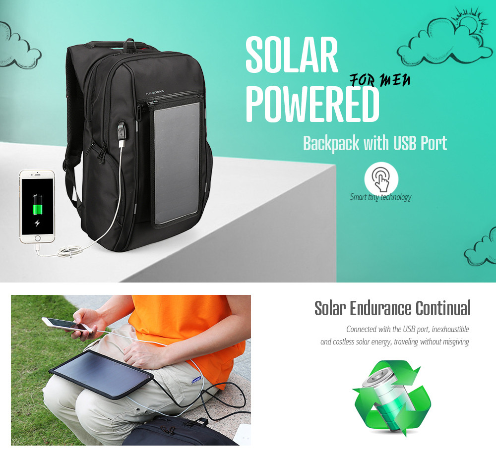 Gearbest Water-resistant Solar Powered Backpack with USB Port  -  BLACK