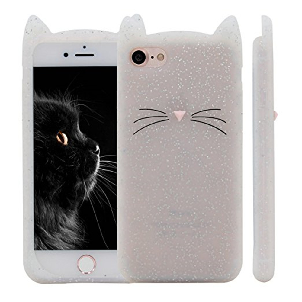 Case For iPhone 8 / 7 Pattern Back Cover Beard Cat Soft Silicone