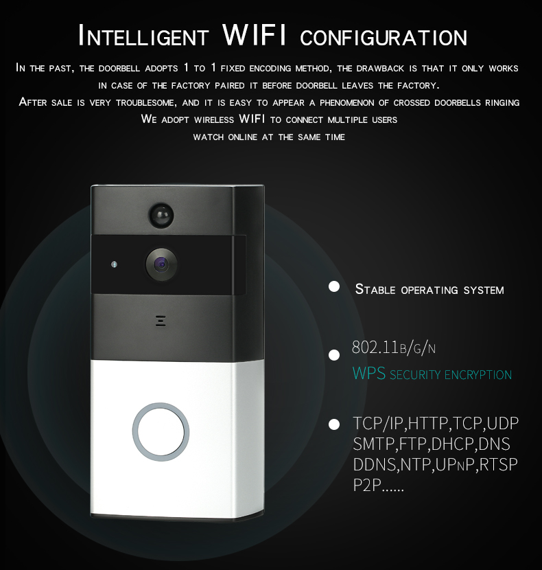 Wireless Battery WiFi H 264 Video Doorbell PIR Two Way Audio Home Security  Night Vision