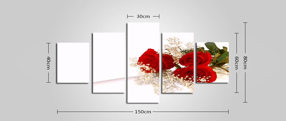 Unframed High Definition Prints Rose Pattern Wall Art 5PCS