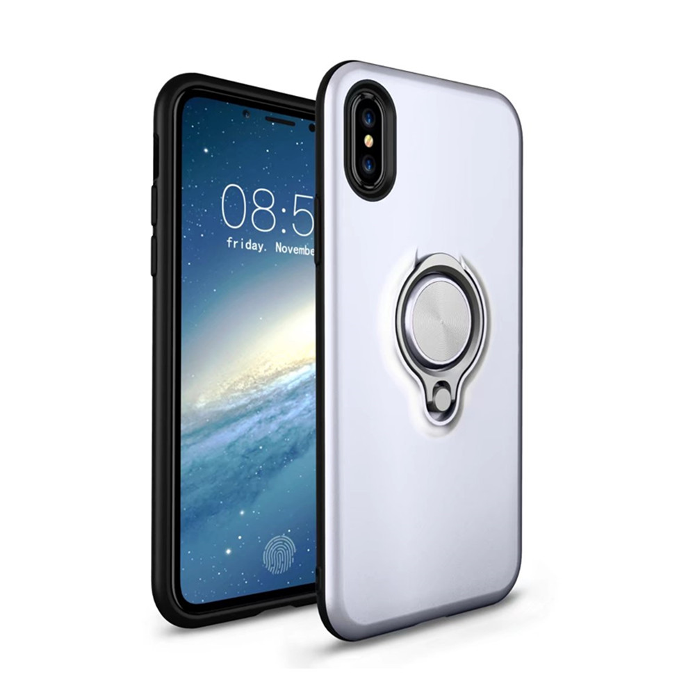 Shock Absorption Dual Cover Design Phone Ring Holder Anti-Scratch Protective Case for iPhone X