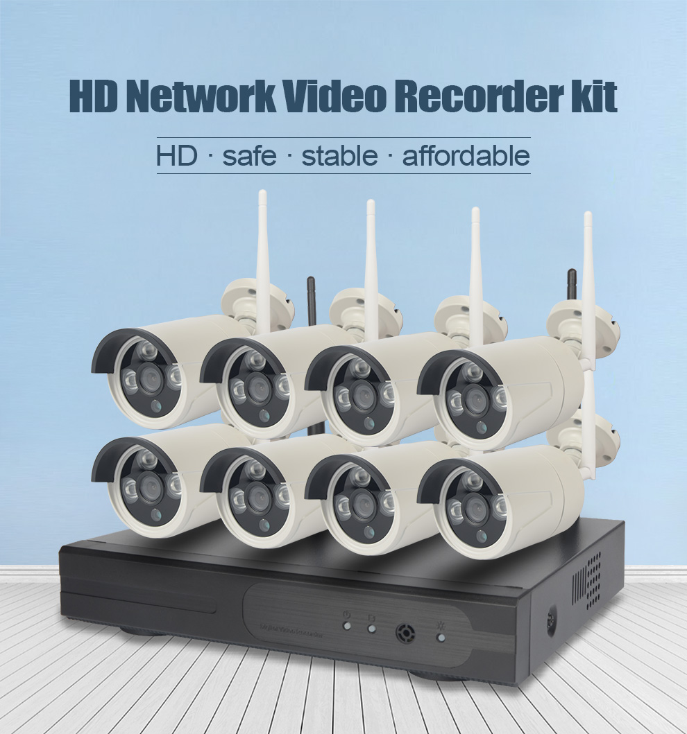 8Pcs HD 720P Outdoor P2P WIFI 8CH NVR CCTV Security Wireless IP Camera System