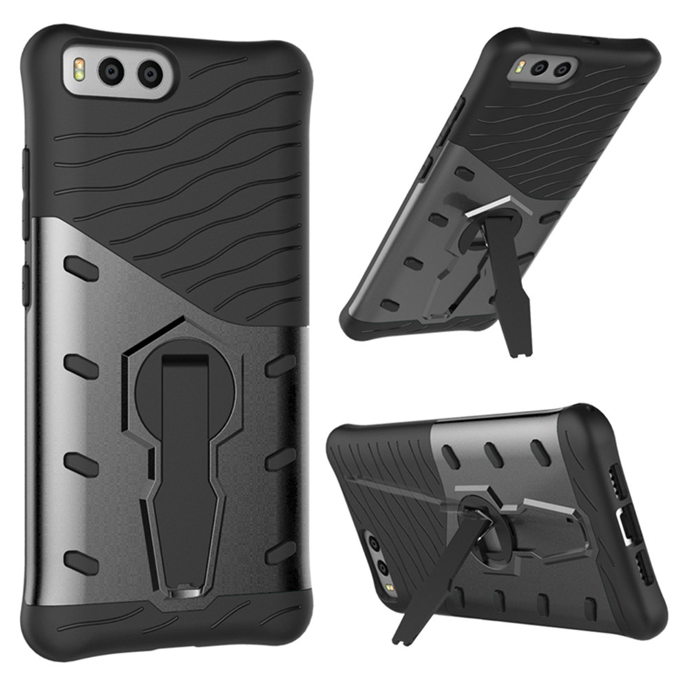 Shockproof with Stand 360 Rotation Back Cover Contrast Color Hard PC Case for Xiaomi 6