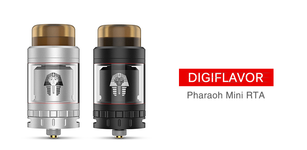 DIGIFLAVOR Pharaoh Mini RTA with 2ml / 5ml / Top Juice Refill System/ Interchangeable Deck for E Cigarette