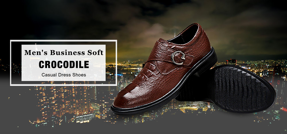Men's Business Soft Crocodile Casual Dress Shoes