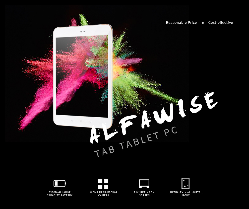 Alfawise Tab Tablet PC 7.9 inch Android 6.0 MTK8173 Quad Core 1.6GHz 4GB RAM 64GB ROM Cameras Dual WiFi