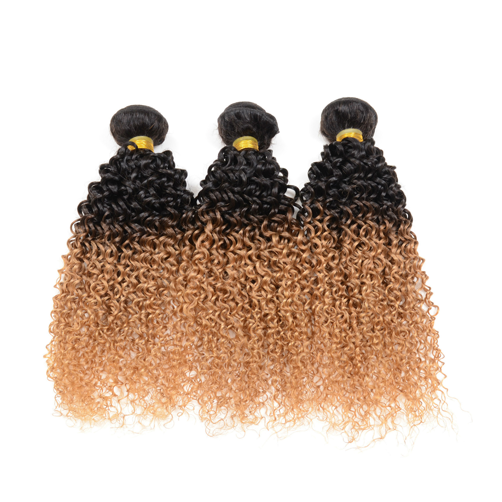 Brazilian Ombre Color 2 Tone 1B / 27 Kinky Curly Human Hair Weave Extension 1 Piece / 100g