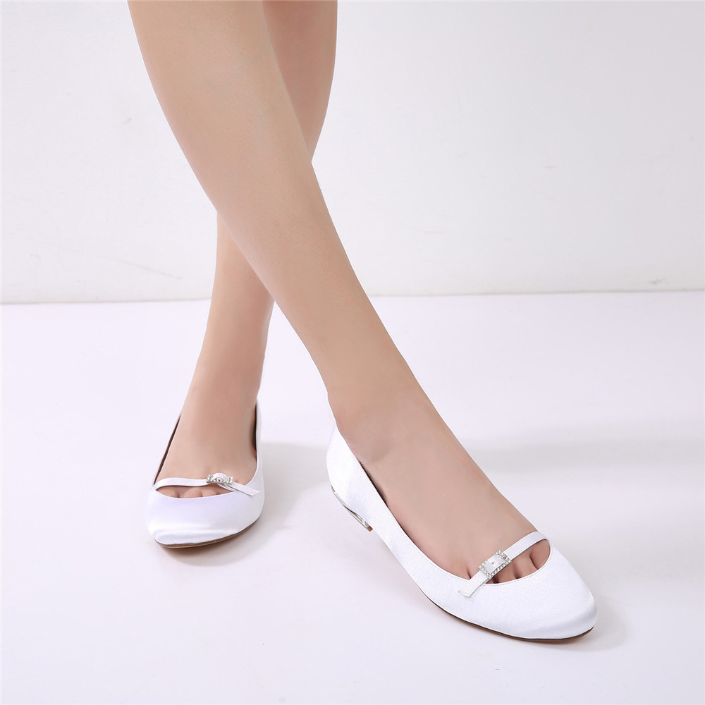 5049-21Women's Wedding Shoes Comfort Ballerina Spring Summer Satin MaryJane