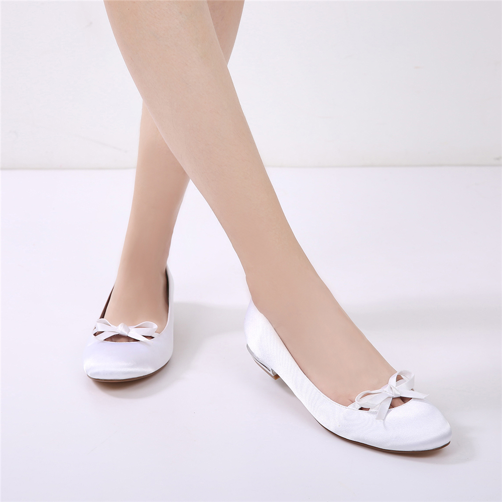 5049-22Women's Wedding Shoes Comfort Ballerina Spring Summer Satin Flat Heel