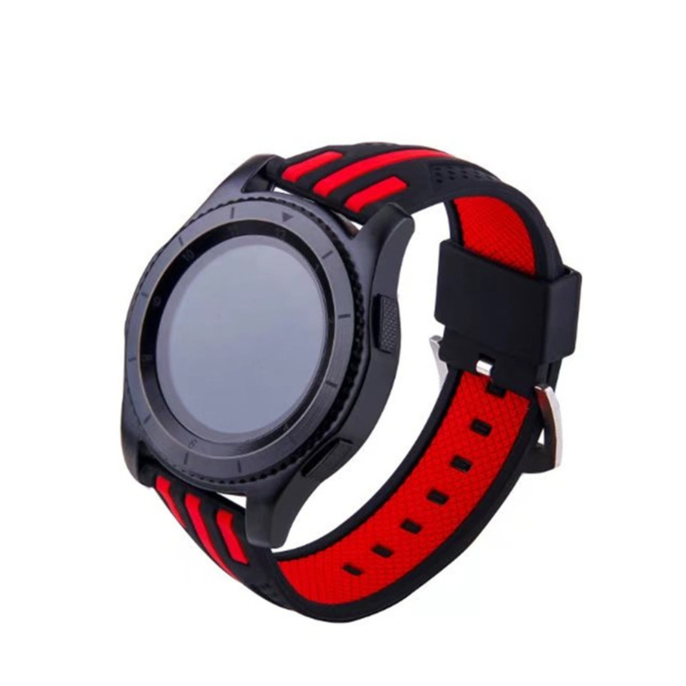 22mm Double Color Striped Silicone Strap For Samsung Gear S3 Frontier Side Only Classic Black And