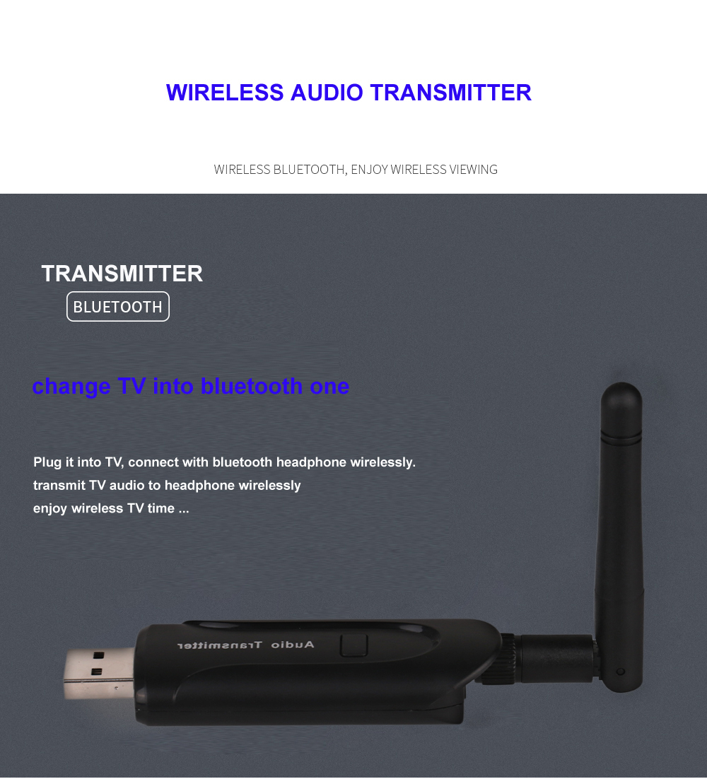 V - B5 USB 3.5MM Wireless Bluetooth 4.0 A2DP Stereo Music Audio Transmitter