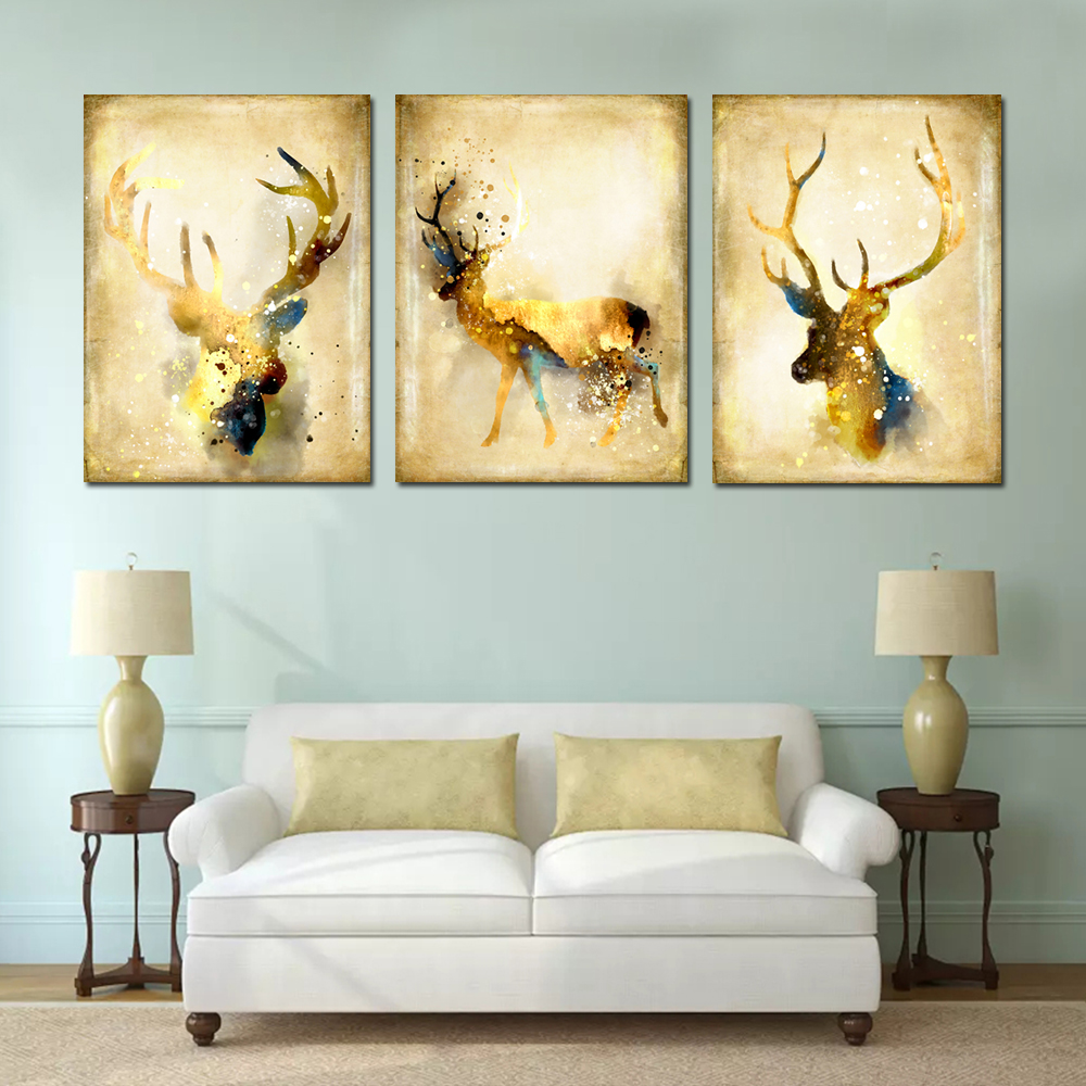 Simple Abstract Animal Wall Art Elk Canvas Painting 3PCS - $12.78 ...