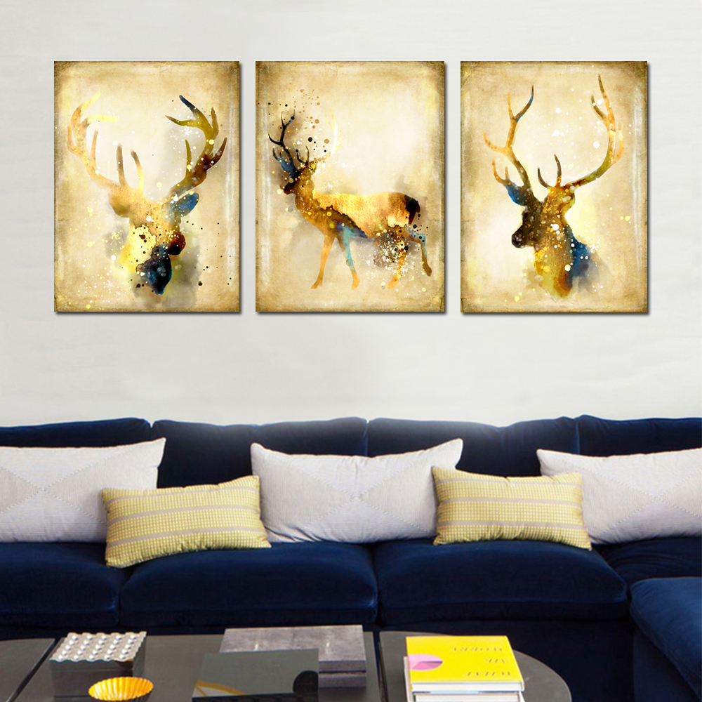 Simple Abstract Animal Wall Art Elk Canvas Painting 3PCS 40 X 60CM ...