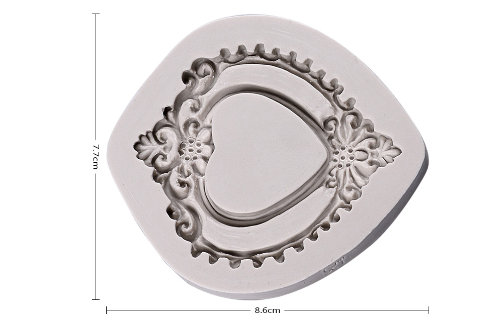 50 - 472 Creative DIY European Pattern Mirror Frame Shape Cake Decor Tool- Light Gray