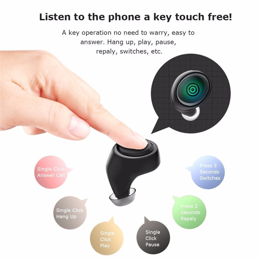 A4 Mini Bluetooth V41 Earbud Wireless Invisible Headphone With Mic Stereo Noise Canceling In