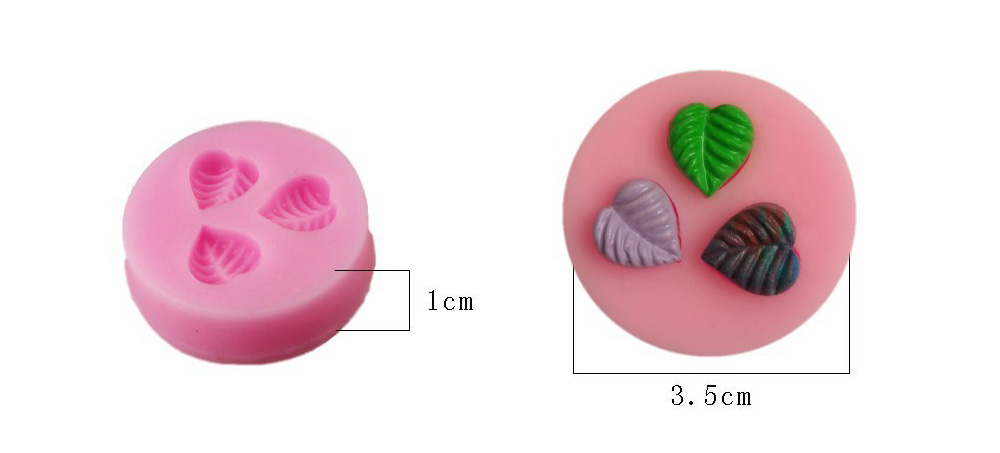 Lovely Cute Leaves Cake Candy Chocolate Mold Silicone Bakery Tool- Pink