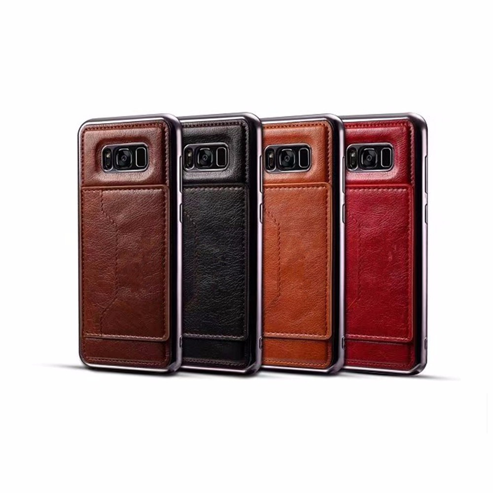 TPU Wallet Case with Card Holder Slot Wrist Strap for Samsung Galaxy S8