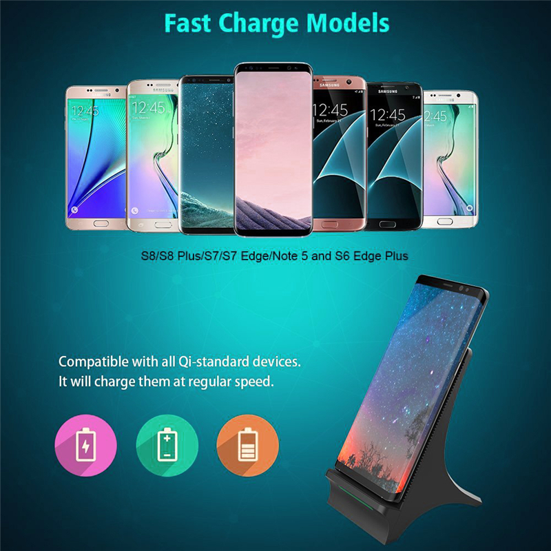 10W Qi Wireless  Fast  Charger Tower Phone Holder For iPhone 8 / X / Samsung S8 / Note 8
