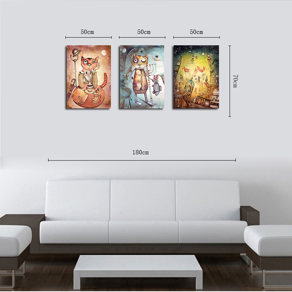 QiaoJiaoHuaYuan Frame Canvas Triptych Sets Europe And The United ...