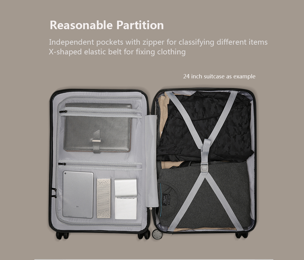 Original Xiaomi 90 Minutes Spinner Wheel Luggage Travel Suitcase- Black 24 INCH