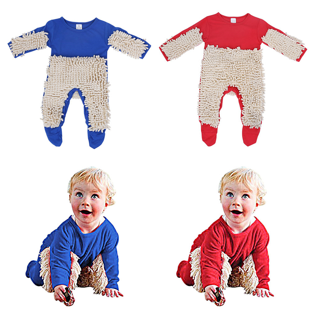 Newborn Kids Baby Boys Girls Mop Clothes Long Sleeve Swob Romper Jumpsuit