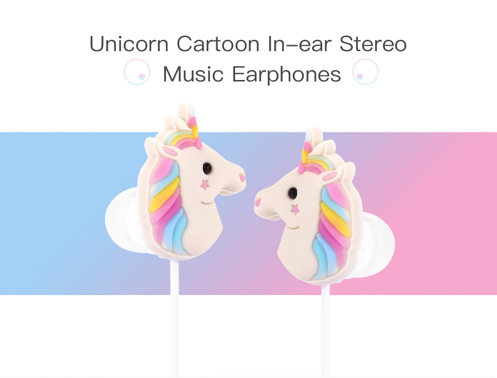 f6510723d27 Unicorn Cartoon In-ear Earphones with Microphone Lovely Type / On-cord  Control -