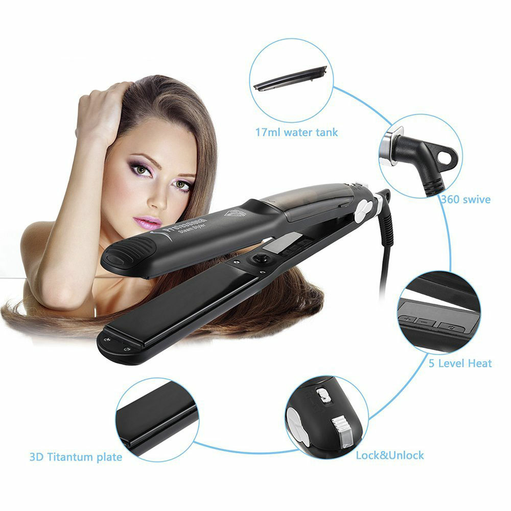 Professional Steam Hair Straightener Fast Hair Styler- Black