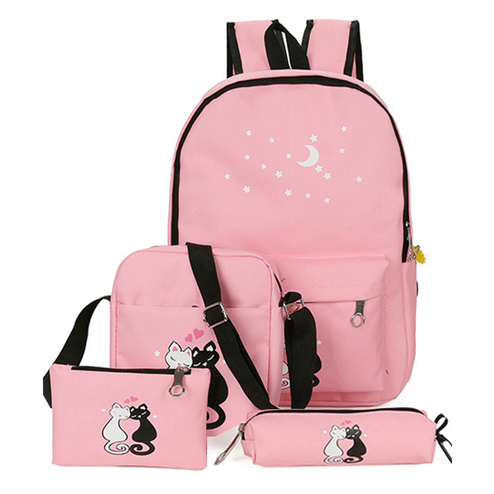 Women's Bags Set Preppy Chic Cute Cat Pattern Printed Canvas School Bag