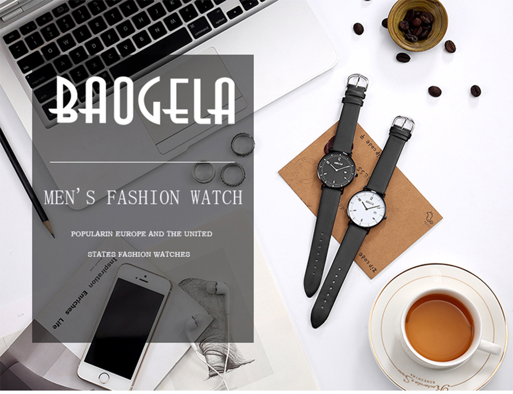 BAOGELA 1610 Casual Men Quartz Leather Watch