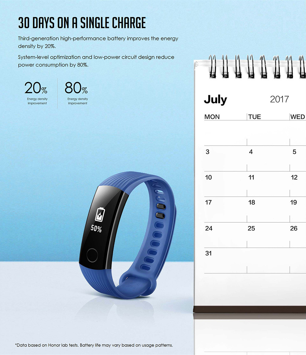HUAWEI Honor Band 3 Smartband Heart Rate Monitor Calories Consumption Pedometer - Black
