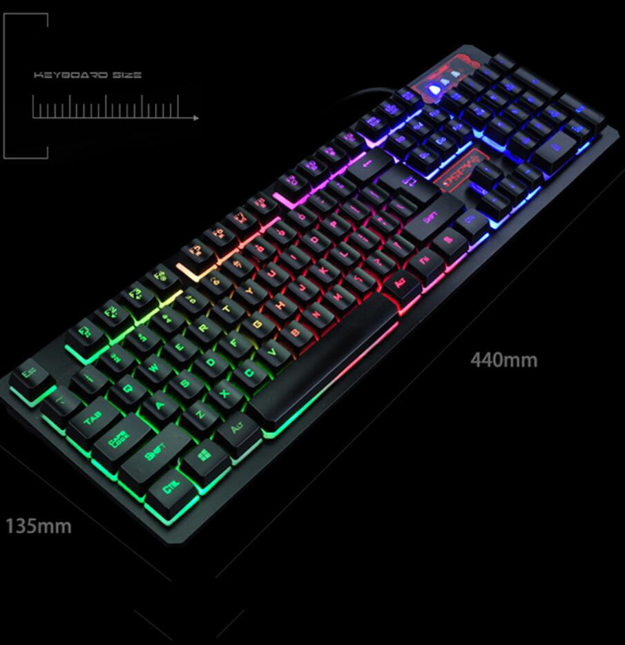 USB Wired Gaming Keyboard and Mouse Kit Backlights Keys and 2400DPI Mice- Black
