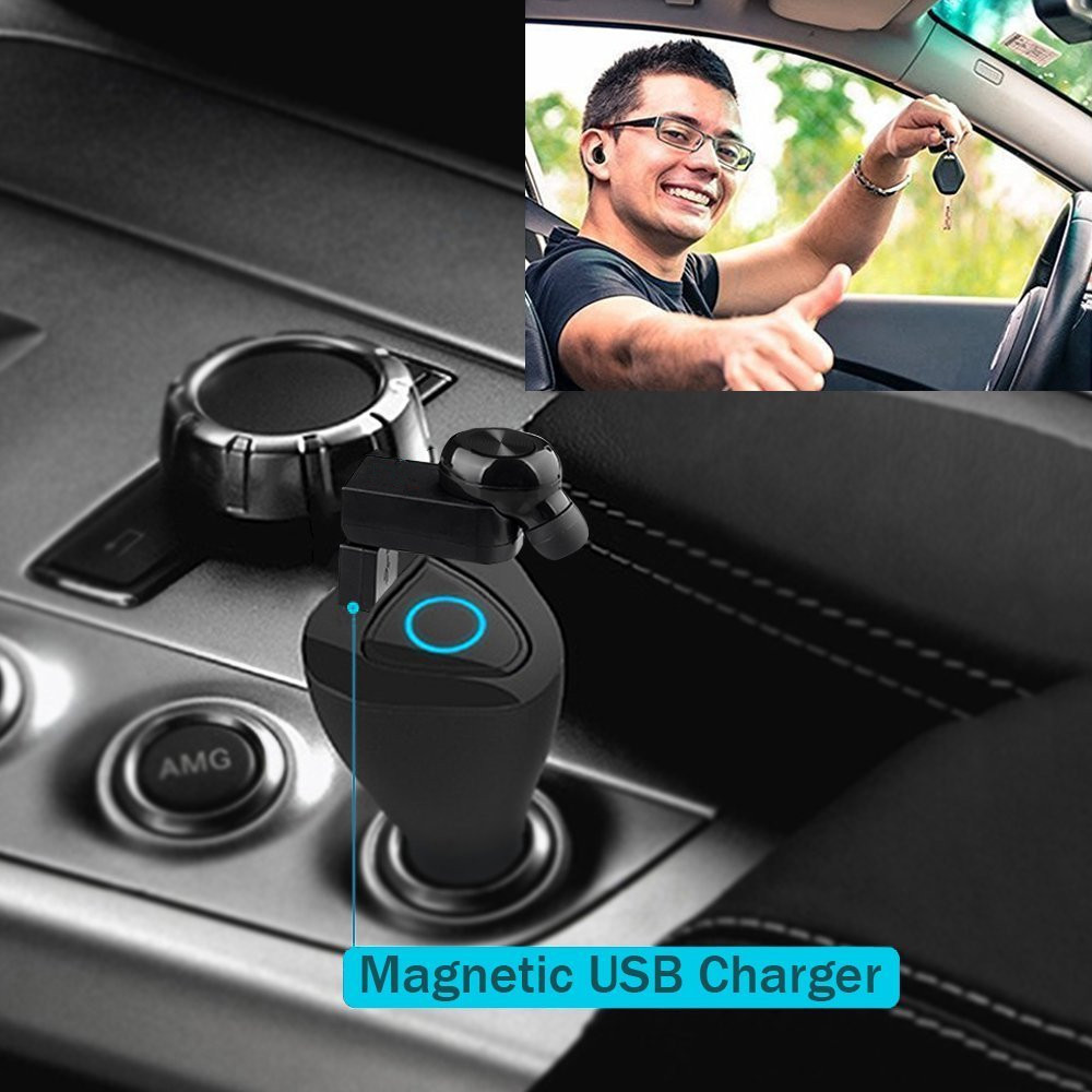 Bluetooth Headset X17 Mini Invisible Earbud with 2 Magnetic Charger 6H Playtime Earpiece with Mic