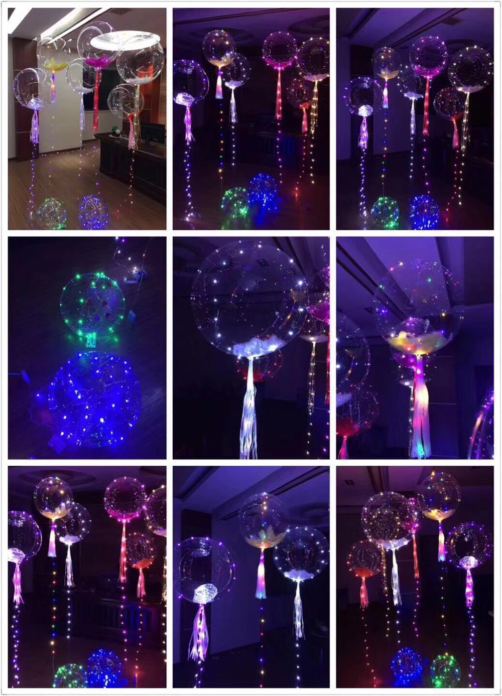 LED String Lights Transparent Balloon Shining 18 Inch